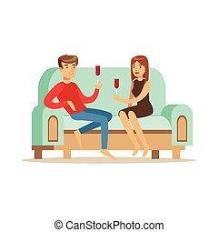 Young couple in love sitting on a light blue sofa and drinking wine, people resting at home vector Illustration