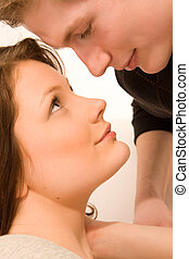 young couple in love, face to face