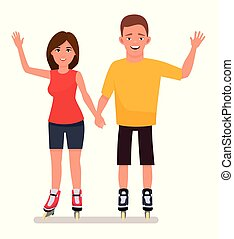 Young couple in park ride rollerblades isolated in a white...