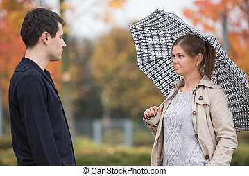 young couple in park