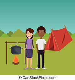 young couple in the camping zone