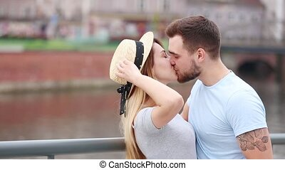 Young couple in the european city - Young couple, brunet man...