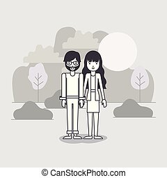 young couple in the field avatars characters vector ...