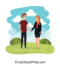 young couple in the landscape