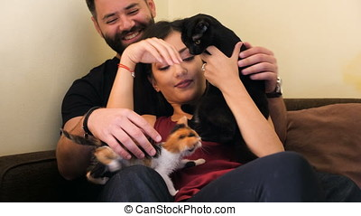 Young couple in the living room relaxing and playing with their adorable cats