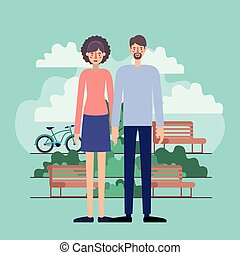 young couple in the park with bikes vector illustration ...