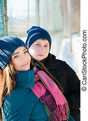 Young couple in winter day