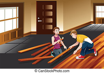 Young couple installing hardwood floor