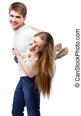 Young couple isolated on white background