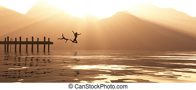 Young couple jumping on the pontoon in the lake. This is a...