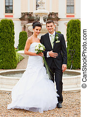 Young couple - just married - Young couple - wedding day