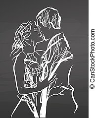 young couple kiss. Drawing on chalkboard