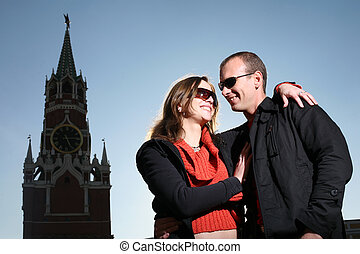 Young couple kissing at Red Square, Moscow, Russia