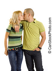young couple kissing, studio shot