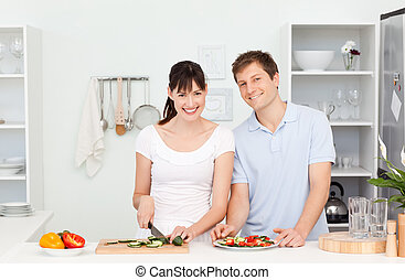 Young couple looking at the camera
