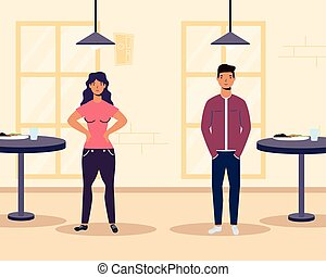young couple lovers in restaurant scene