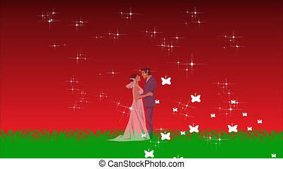 young couple loving each other on abstract background