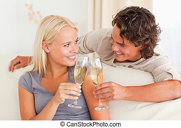 Young couple making a toast