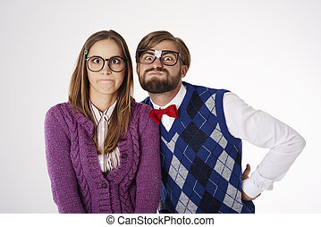 Young couple making funny faces