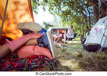 Young couple making out in tent