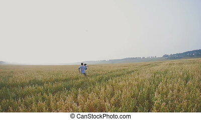 Young couple - man and woman running with kite on meadow of ears wheat. rear view