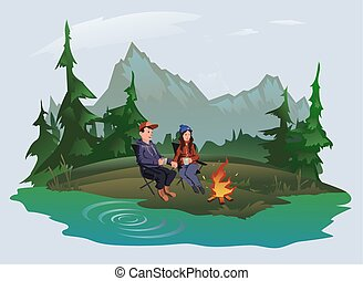 Young couple, man and woman sitting around the campfire in the woods on the shore of the lake. Hiking, active outdoor recreation. Isolated vector illustration.