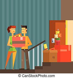 Young Couple Moving Into New Apartement Pixelated Illustration