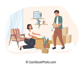 Young couple moving to a new house or apartment. Man and woman packing their stuff in cardboard boxes. Family preparing for relocation to another dwelling. Vector illustration in flat cartoon style.