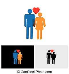 young couple of lovers vector icon ( symbol ) with heart sign of boy & girl or husband and wife or bride and bridegroom