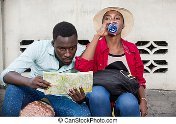 young couple of tourists.
