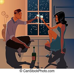 Young couple on a date. Love. A cozy cottage. Vector...