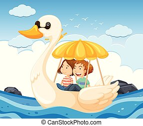 Young couple on a swan boat