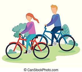 young couple on bicycle characters