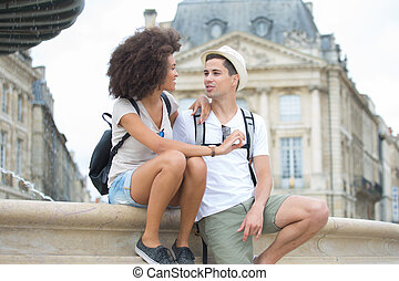 Young couple on city break