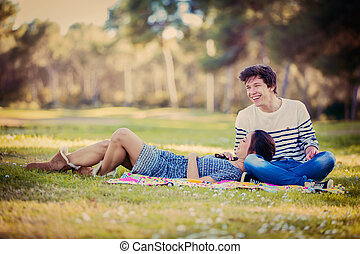young couple on date in summer