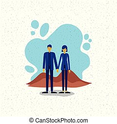 young couple outside scene avatars characters vector ...
