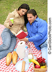 Young Couple Picnic Outdoor