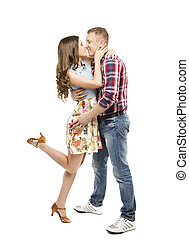 Young Couple Portrait, Kissing in Love, Woman and Man Dating