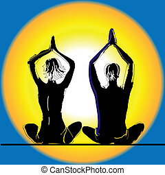 Young couple practicing yoga on the sea beach at sunset. Vector illustration.