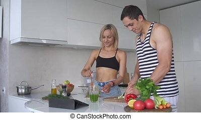 Young couple preparing a healthy Breakfast