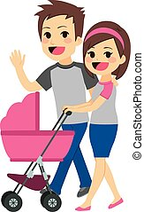 Young Couple Pushing Stroller - Cute young happy couple...