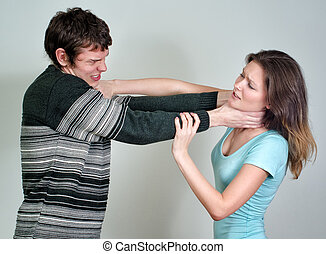 Young couple quarreling and fighting