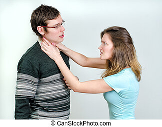 Young couple quarreling.