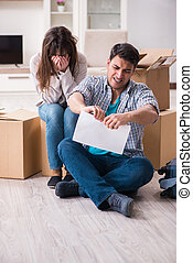 Young couple receiving foreclosure notice letter