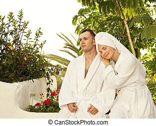 Young couple relaxing after bath
