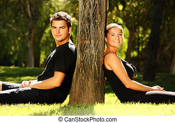 Young couple resting in the park