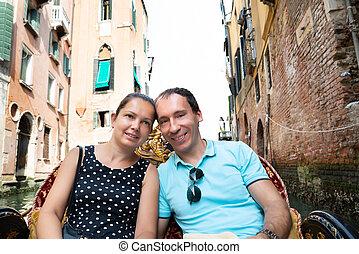 Couple Riding In Gondola, Venice, Italy
