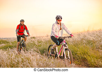 Young Couple Riding Mountain Bikes in the Beautiful Field of Feather Grass at Sunset. Adventure and Family Travel.