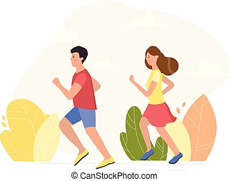 Young couple running - vector illustration