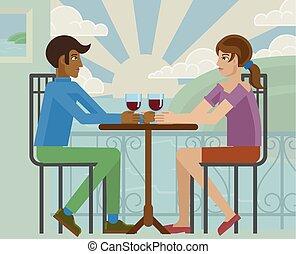 Young Couple Sea Side Restaurant Cartoon